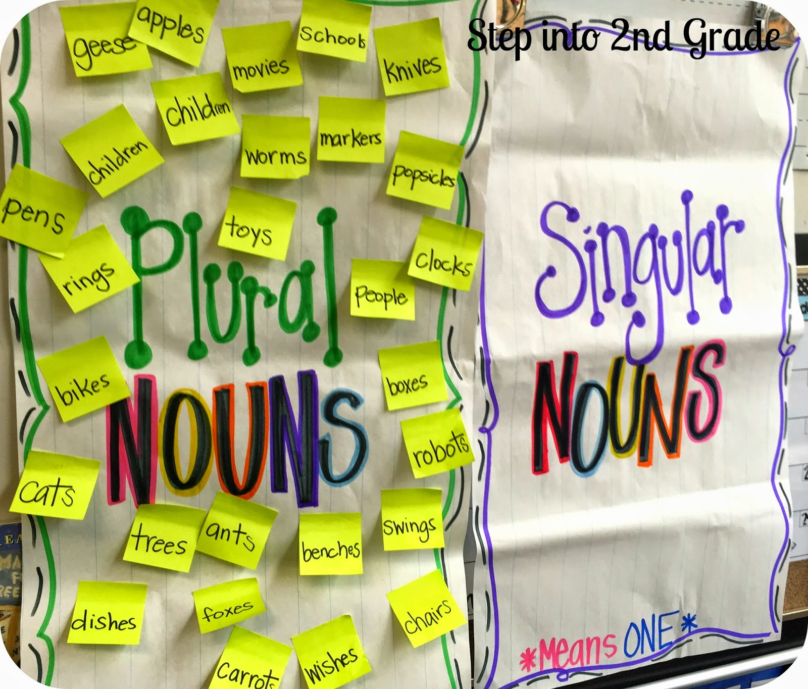 Singular and plural nouns step into 2nd grade with mrs lemons we transferred big word for the day the singular nouns to the plural noun chart after making them plural this did jump start our discussion on how to reviewsmspy