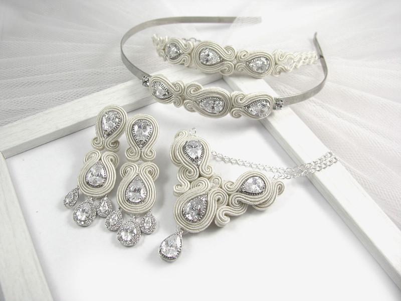 biżuteria ślubna z sutaszu ivory
