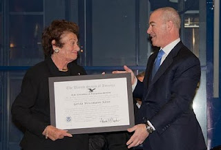 Director Alejandro Mayorkas presents Gerda Weissmann Klein the Outstanding American by Choice (ABC) recognition