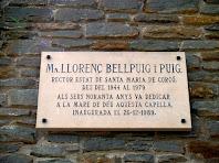 Placa commemorativa a la capella del Pedró