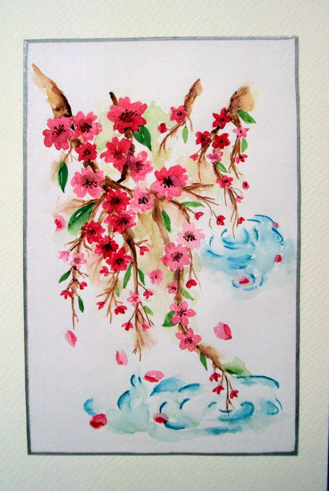 blossoms, flowers, pink, hanging, branches, art, handpainted, watercolour