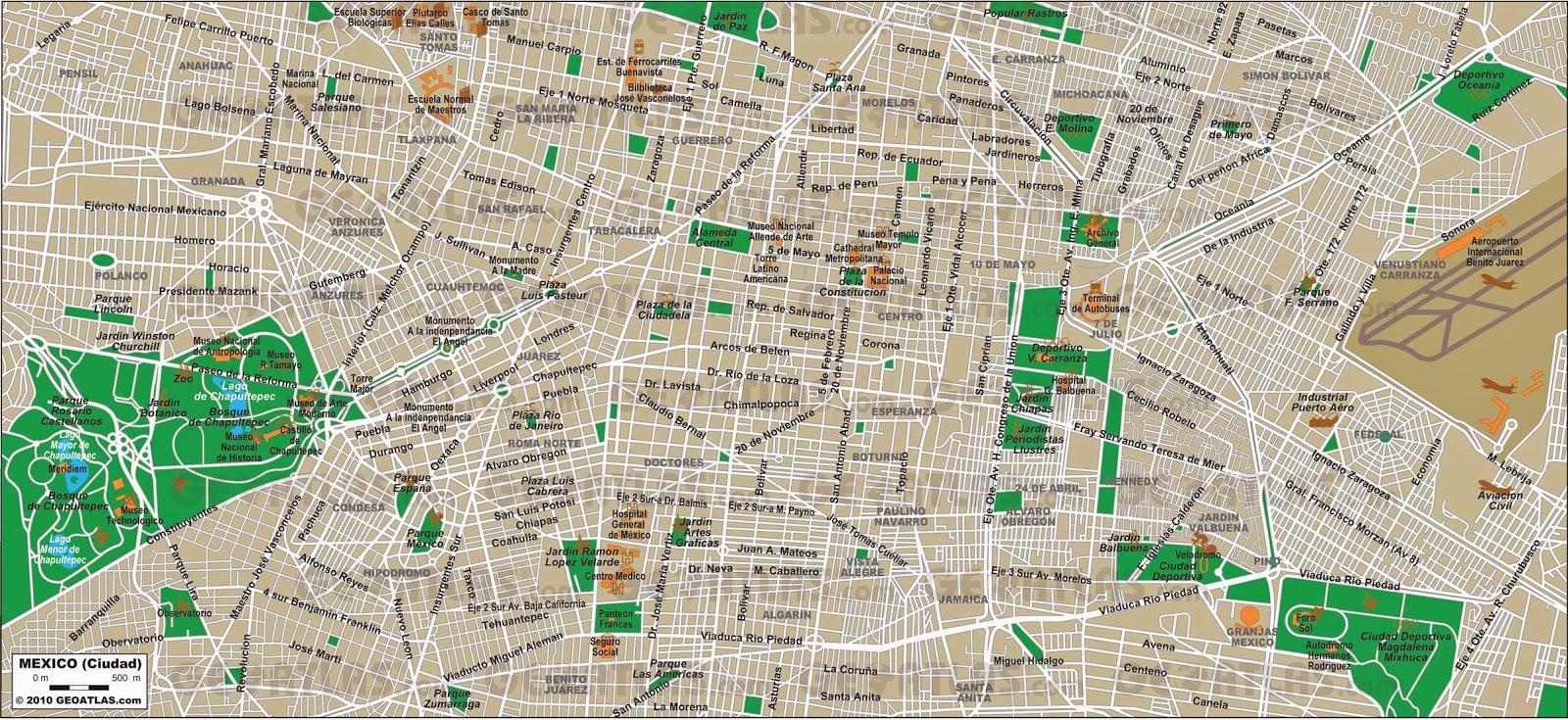maps of mexico city free printable maps