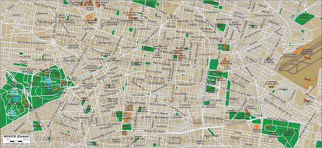 Large detailed map of Mexico City