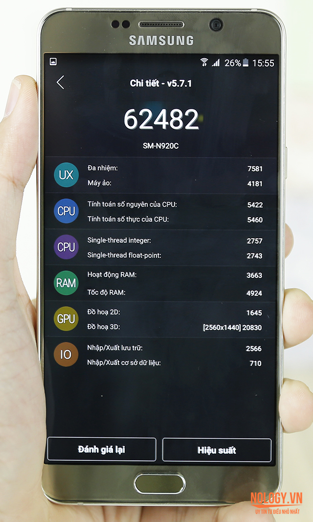 Đánh giá hiệu năng của Samsung galaxy note 5