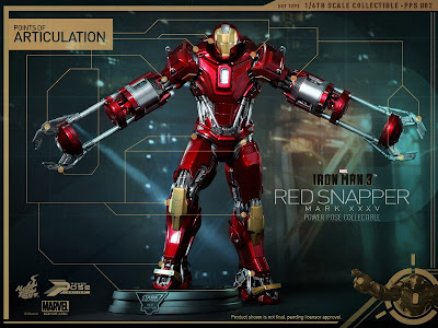 Hot Toys Power Pose Series Iron Man 3 Mark 35 Red Snapper Armor