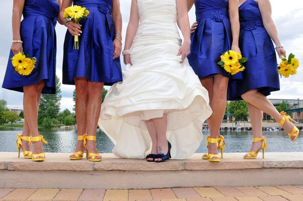 Shop joielle real weddings round up blue and yellow for What color shoes with navy dress for wedding