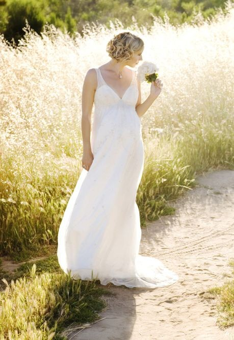 Chiffon Strapless V-neck Empire A-line Long Maternity Wedding Dress