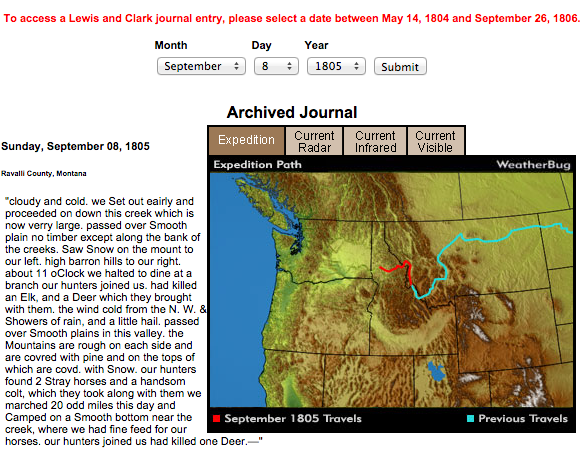 a lewis and clarks expedition journal entry Clark and the rest of the expedition arrived one week after lewis soon sacagawea discovered the day before this journal entry the expedition was hit by a wind.
