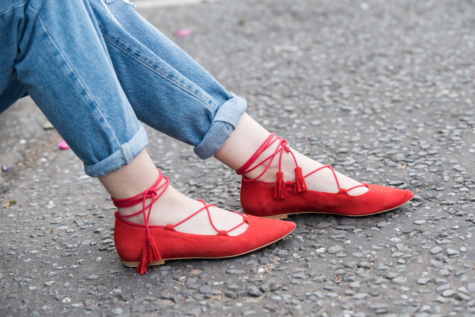 red, suede, lace up, flat, shoe, office