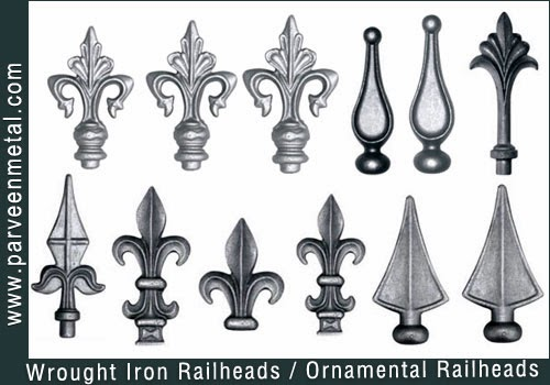 Wrought iron components and ornamental hardware for