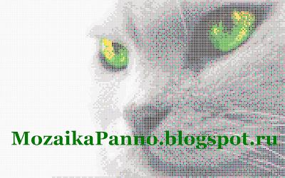 Картина из стеклянной мозаики «Кошкины зеленые глаза»