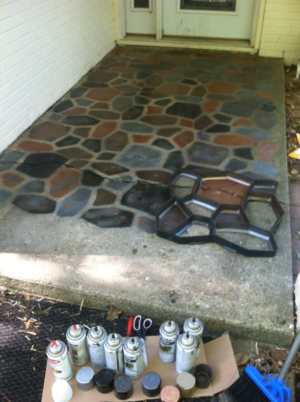the smart momma spray painted faux stones on concrete patio. Black Bedroom Furniture Sets. Home Design Ideas