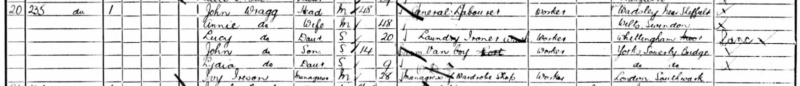 1901 census of England, London, Civil Parish of Camberwell, folio 143, page 4, Household of John Wragg; digital images, Ancestry.com, Ancestry.com (http://www.ancestry.com : accessed 23 Sep 2014); citing PRO RG 13/506.