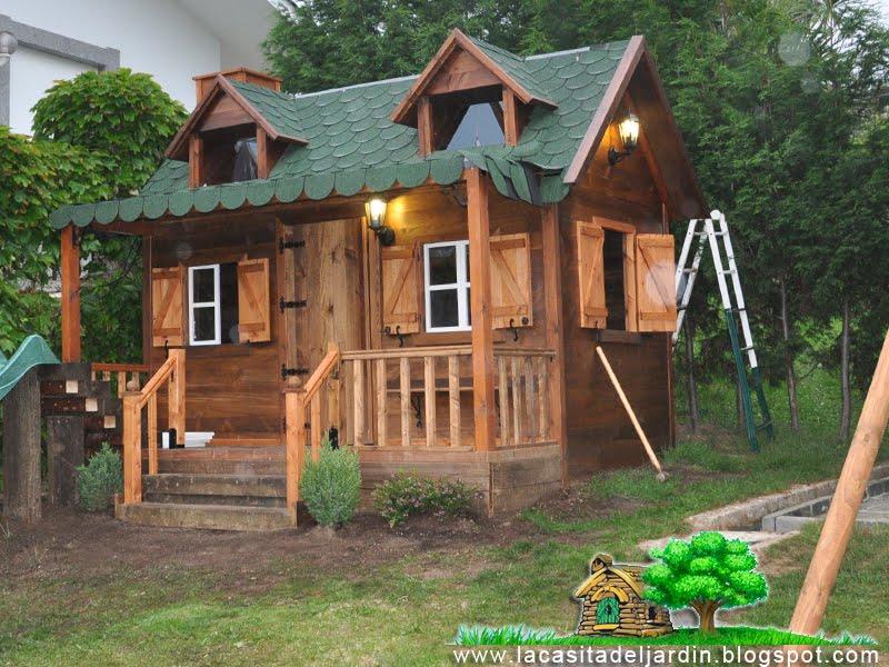 D a 27 el tobog n la casita del jard n construcci n for Casas de madera para el jardin