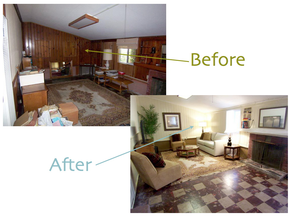 Wallcar painted wood paneling before after Can you paint wood paneling