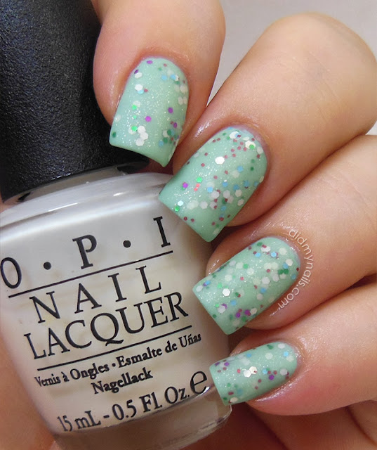 matte glitter sandwich with OPI Don't Touch My Tutu!