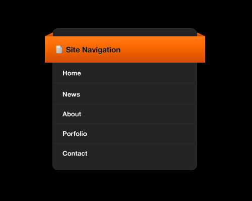Navigation bar with an orange ribbon