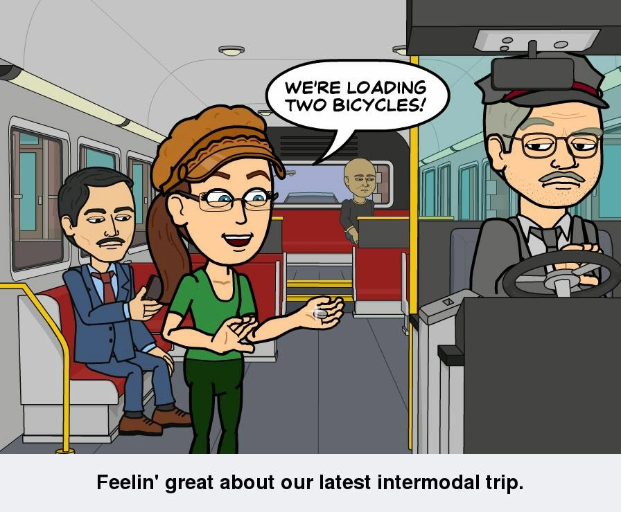 "Cynthia M. Parkhill's Bitstrips comics avatar stands on a bus, next to the male driver who is seated behind the steering wheel. She tells him, ""We're loading two bicycles!"" The caption reads, ""Feelin' great about our latest intermodal trip."""
