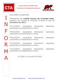 C.T.A. INFORMA CRÉDITO HORARIO CRISTOBAL NIETO, DICIEMBRE 2017