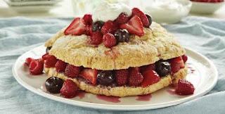 Ricotta Shortcake with Berry-Cherry Sauce