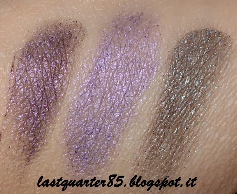 Ombretti ed Eyeliner da rivitalizzare: a sinistra e a destra due eyeliner di Essence andati fuori produzione, al centro il Maybelline Color Tattoo 15 Endless Purple.