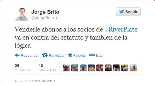 Jorge Brito, Brito, River, River Plate, Abono, Canje, Antiestatutario,