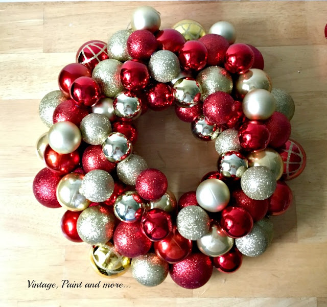 Vintage, Paint and more... filling in the gaps with smaller ornaments on a diy ornament wreath