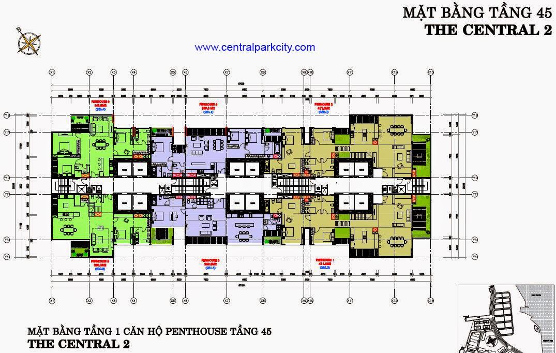 Vinhomes Central Park Penthouse - Mặt bằng tầng 45 - The Central 2 (C2)