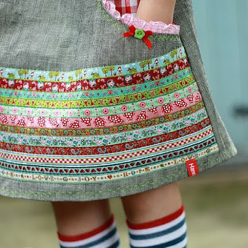 You could try adding vintage trim to skirts, tunics, patch pockets and aprons to name but a few Hanna Purzel
