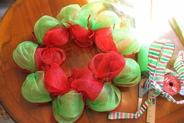two color mesh wreath