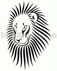 Motif Tato Singa Hitam Putih 24
