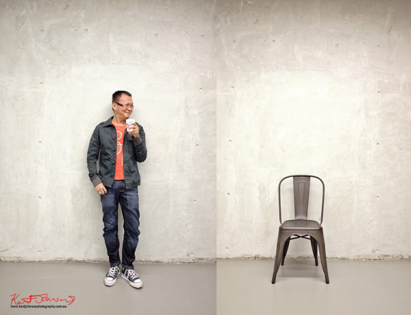 Raymond and chair, Rayner Hoff Studio, Street Fashion Sydney by Kent Johnson.