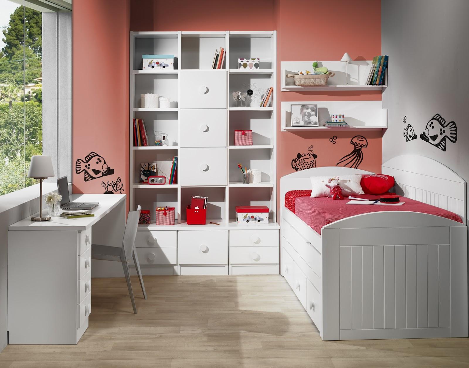 Habitacion juvenil lacada blanca con cama compacto - Habitaciones blancas juveniles ...