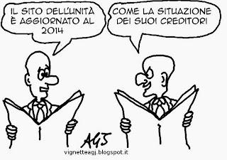 L'Unità, Debiti, Report, satira, vignetta