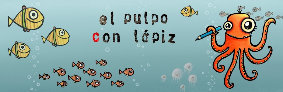 El pulpo con lpiz - ilustracin infantil