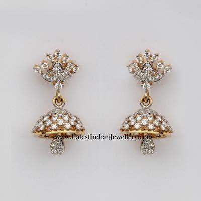 Cute Simple Diamond Jhumka Earrings