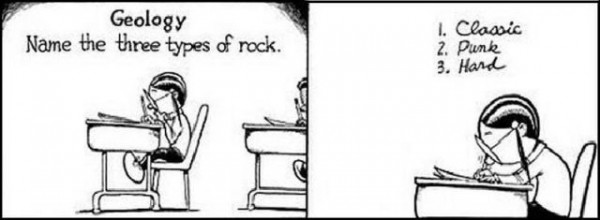 funny geology exam answer on types of rocks