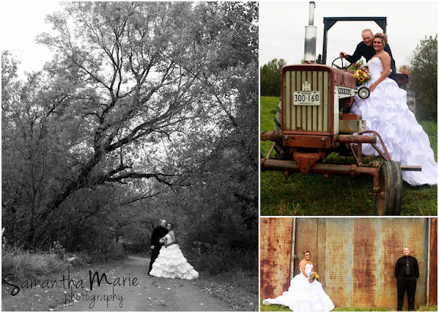bride and groom with old tractor