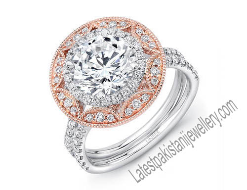 Engagement Ring Trends Mixed Metal Halos