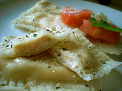 Homemade Shrimp & Cheese Ravioli with garlic sauce