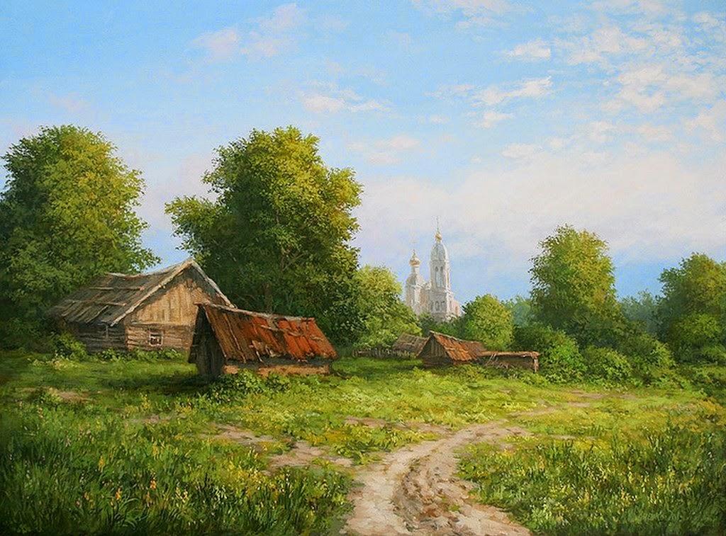 Cuadros modernos pinturas y dibujos paisaje con casa de - Paisajes de casas ...