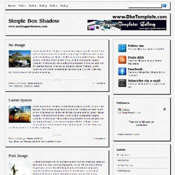 Simple Box Shadow blogger template. 3 column footer blogspot template