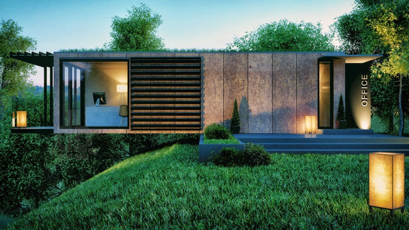 Shedworking Cantilevered Shipping Container Garden Office