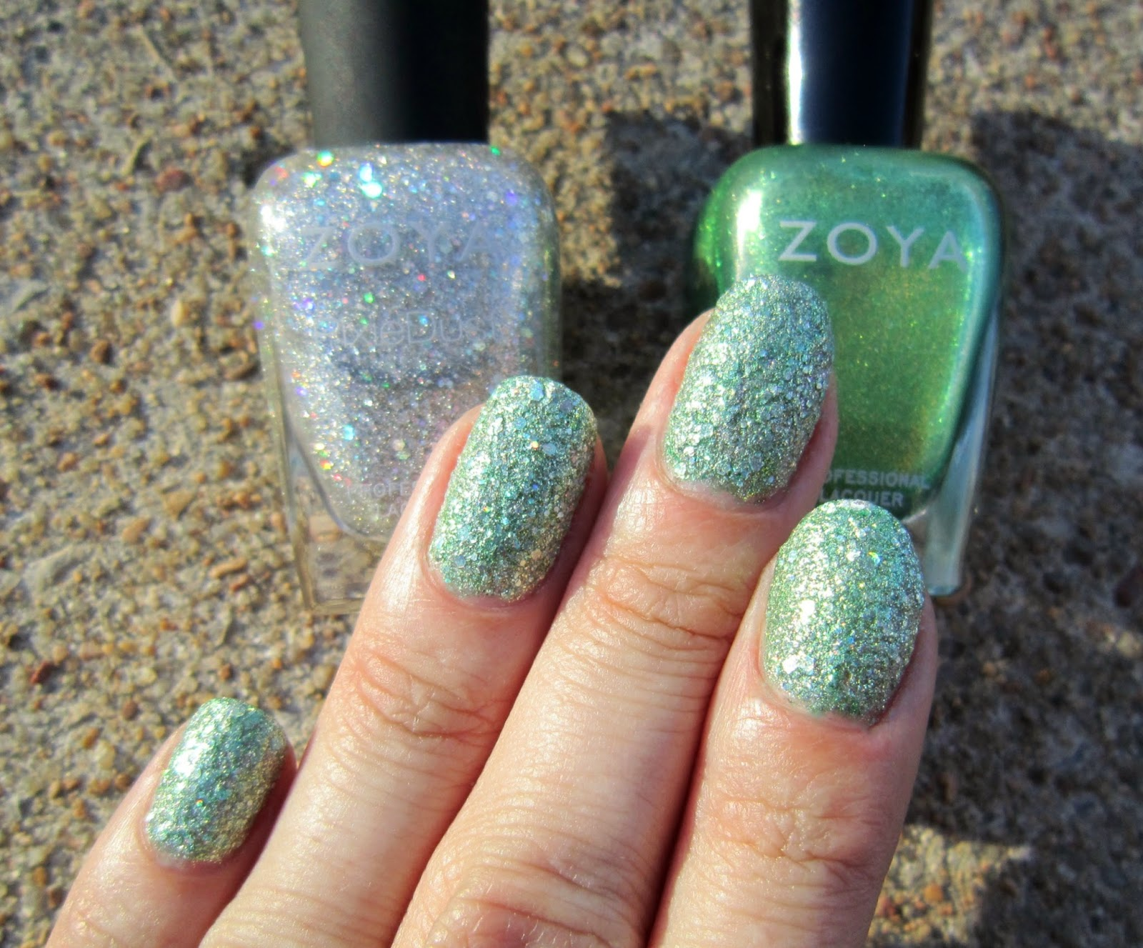 concrete and nail polish layering with zoya cosmo amp apple