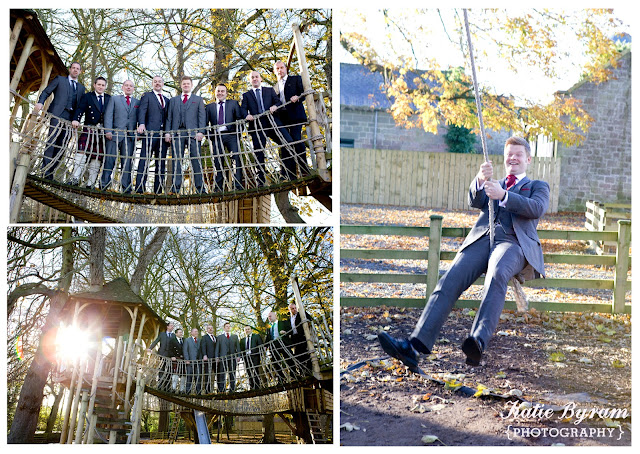 treehouse wedding, groom on swing, ellingham hall wedding, ellingham hall, alnwick wedding, northumberland wedding, alnwick, wedding venue north east, quirky wedding photographer, katie byram photography, winter wedding, autumn wedding