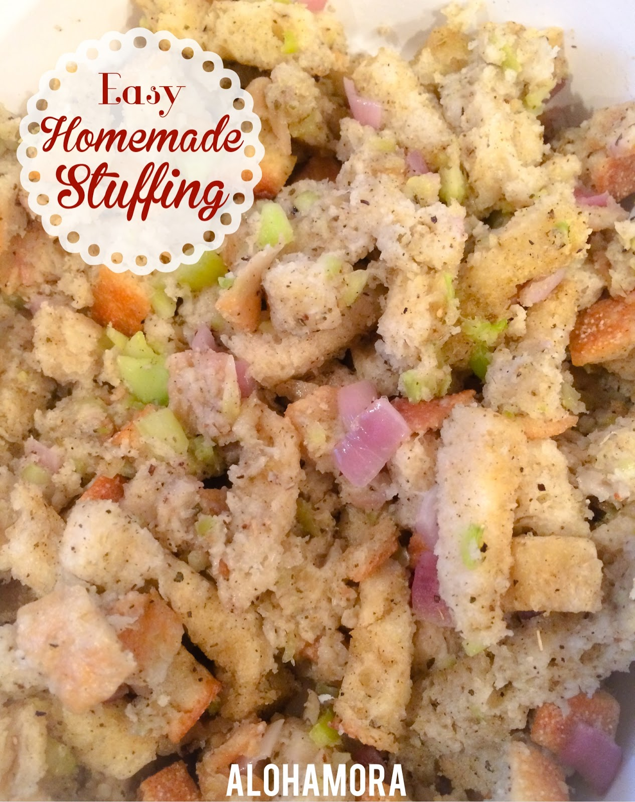 Easy Homemade Stuffing.  Just as easy as a box stuffing, but it tastes a million times better.  Seriously, this stuffing takes 10 minutes to throw together, and you can let it sit while you get everything else.  Perfect side dish for Thanksgiving, Sunday dinner, or anytime really.  Alohamora Open a Book http://alohamoraopenabook.blogspot.com/