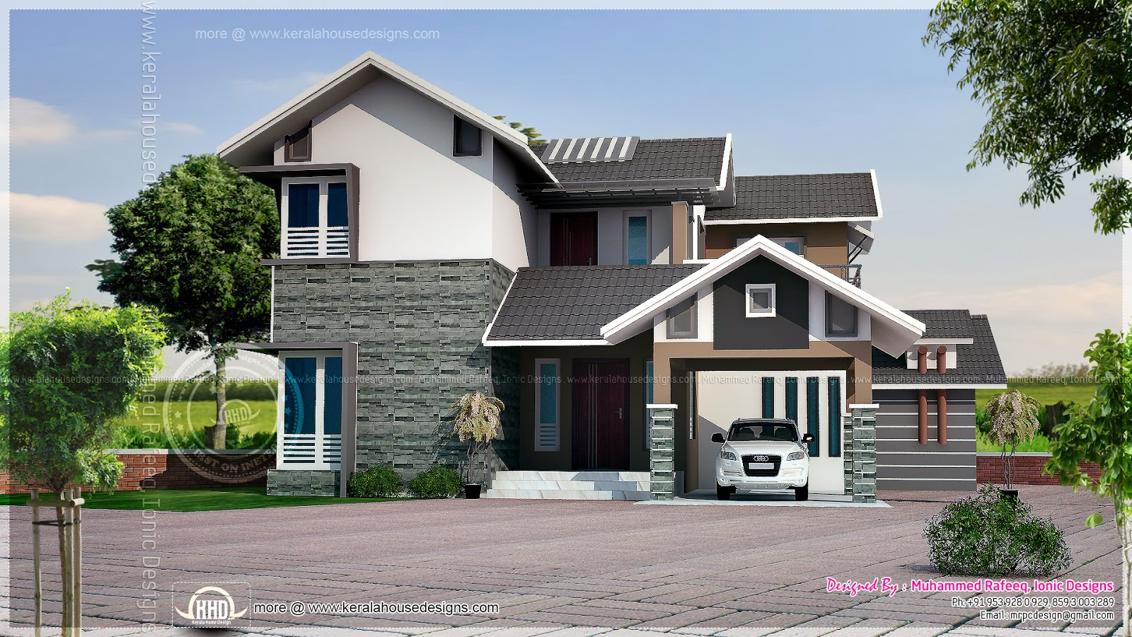 2099 Square Feet Sloping Roof House Elevation Kerala
