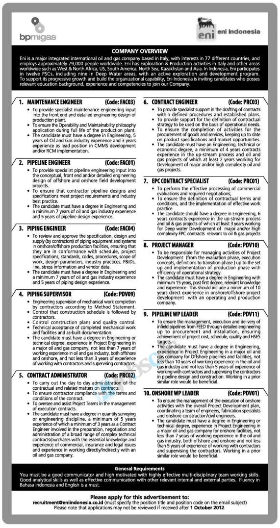 Indonesia Ltd - Recruitment Engineering Eni Indonesia September 2012