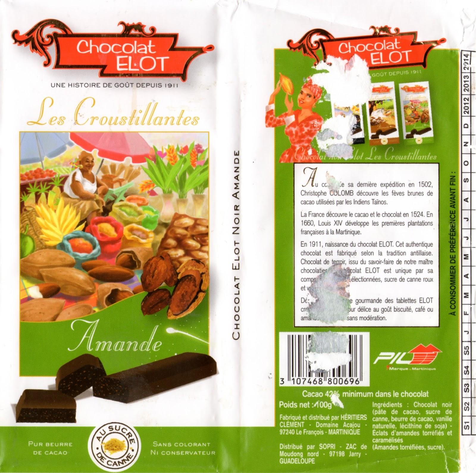 tablette de chocolat noir gourmand elot les croustillantes noir amande