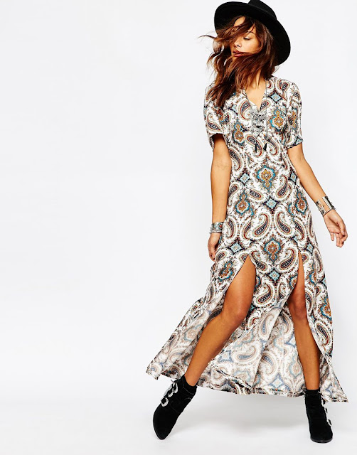 paisley maxi split dress, milk it vintage dress,